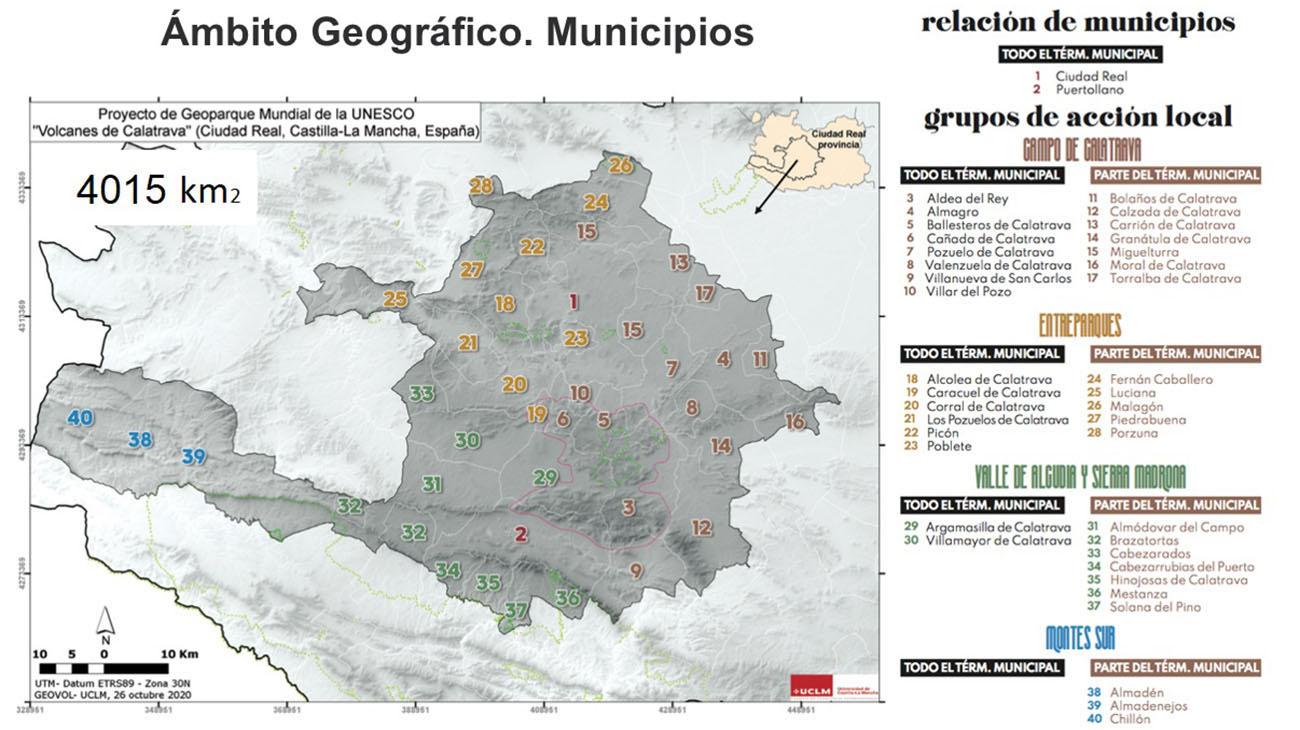 Mapa del territorio que incluye el proyecto Geoparque Volcanes de Calatrava/ A.M.G